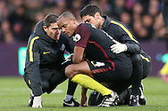 Vincent Kompany of Manchester City is concussed after colliding into Claudio Bravo of Manchester City. Premier League match, Crystal Palace v Manchester city at Selhurst Park in London on Saturday 19th November 2016. pic by John Patrick Fletcher, Andrew Orchard sports photography.