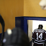 Shayne Gostisbehere, Union College, leaves the rink after the first period during the Yale Vs Union College, Men's College Ice Hockey game at Ingalls Rink, New Haven, Connecticut, USA. 28th February 2014. Photo Tim Clayton