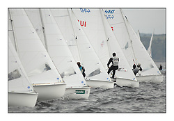 470 Class European Championships Largs - Day 1.Racing in grey and variable conditions on the Clyde..Bow's on the women's STartline