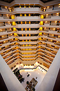 Lobby and atrium area in the 5-star Oberoi Mumbai Hotel at Nariman Point, Mumbai, formerly Bombay, Maharashtra, India