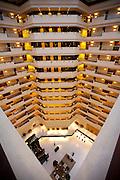 Lobby and atrium area in the 5-star Oberoi Mumbai Hotel at Nariman Point, Mumbai, formerly Bombay, Maharashtra, India