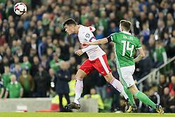 November 9, 2017 - Belfast, Nordirland - Belfast, 09.11.2017, Fussball WM Qualifikation Playoff, Nordirland - Schweiz, Granit Xhaka (SUI) gegen Stuart Dallas (NIR) (Credit Image: © Pascal Muller/EQ Images via ZUMA Press)