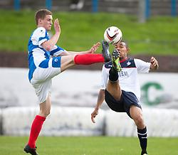 Cowdenbeath's Thomas O'Brien and Falkirk's Phil Roberts.<br /> Half time; Cowdenbeath v Falkirk, 14/9/2013.<br /> ©Michael Schofield.