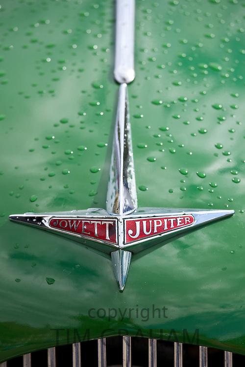Badge Logo of Jowett Jupiter car at classic car rally at Brize Norton in Oxfordshire, UK