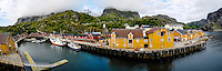 Norway, Lofoten. Nusfjord is an idyllic, small harbor. Panorama.
