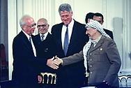Signing of the Middle East Peace agreement PALESTINE LIBERATION ORGANIZATION CHAIRMAN YASSER ARAFAT ISRAELI PRIME MINISTER YITZHAK RABIN...Photo by Dennis Brack