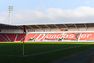 A view of the sunlight that beams down on the Doncaster Rovers' pitch and stands before the EFL Sky Bet League 1 match between Doncaster Rovers and AFC Wimbledon at the Keepmoat Stadium, Doncaster, England on 17 November 2018.