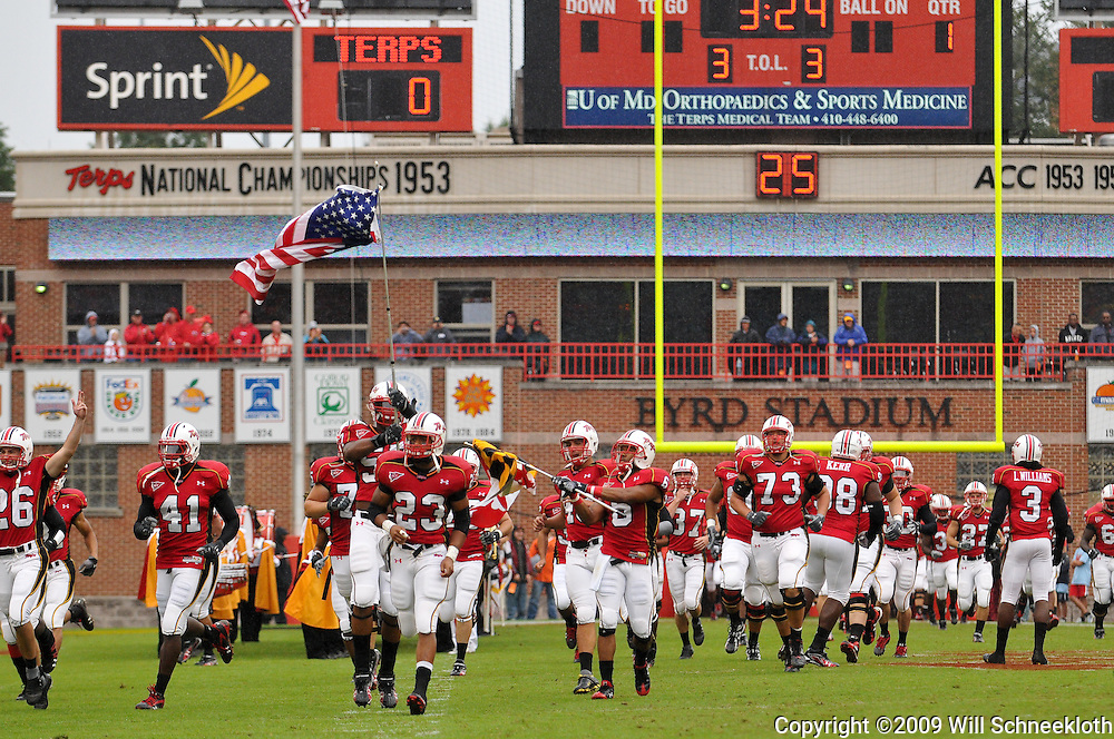 Sep 26, 2009; College Park, MD, USA; Maryland players take the field before Rutgers' 34-13 victory over Maryland in NCAA college football at Byrd Stadium.