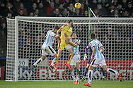 Rotherham have an attack during the second half, header in on target but saved during the Sky Bet Championship match between Huddersfield Town and Rotherham United at the John Smiths Stadium, Huddersfield, England on 15 December 2015. Photo by Mark P Doherty.