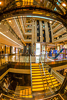 The beautiful interior of the Zhong Da International Shopping Center on South Street, Xian, China. The mall features stores of well known international luxury brands such as Prada, Louis Vuitton, Georgio Armani and Tiffany.