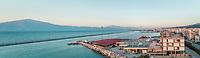 Panoramic view of beautiful sunset at harbor in Patras, Greece