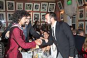 Haider Ackermann; JAY JOPLING; EVGENY LEBEDEV , Charles Finch and  Jay Jopling host dinner in celebration of Frieze Art Fair at the Birley Group's Harry's Bar. London. 10 October 2012.