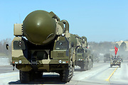 Albina, Russia, 22/04/2008..Topol-M Intercontinental Ballistic Missiles on display as Russian soldiers practice for the forthcoming 63rd Victory Day celebrations on May 9, marking the end of the Second World War, referred to in Russia as the Great Patriotic War.