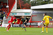 Carlisle United Forward Hallam Hope (9) keeps his eyes on the ball over to score a goal (score 0-1) during the EFL Sky Bet League 2 match between Crawley Town and Carlisle United at the Checkatrade.com Stadium, Crawley, England on 30 September 2017. Photo by Andy Walter.