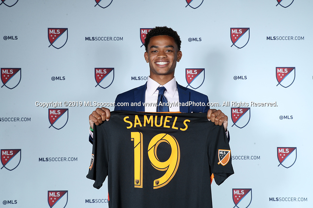CHICAGO, IL - JANUARY 11: Andrew Samuels was taken with the 33rd overall pick by the Houston Dynamo. The MLS SuperDraft 2019 presented by adidas was held on January 11, 2019 at McCormick Place in Chicago, IL.