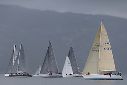 The Clyde Cruising Club's Scottish Series held on Loch Fyne by Tarbert. .Day 3 racing initially postponed awaiting  a light southerly...MIxed IRC Class starters with Absolutely2, Salamander, B/One and Sloop John T