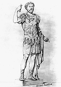 Marcus Aurelius (121-180), Emperor of Rome from 161. Engraving of full-length statue dressed as a warrior.