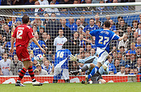 Photo: Ashley Pickering.<br /> Ipswich Town v Cardiff City. Coca Cola Championship. 06/05/2007.<br /> Francis Jeffers of Ipswich (R) scores the opener