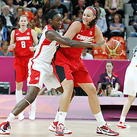 07 August 2012: USA Tina Charles defends on Canada Krista Phillips during 91-48 Team USA victory over Team Canada, during the women's basketball quarter-finals, at the Basketball Arena, in London, Great Britain.