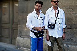Street style, Filippo Fiora and Filippo Cirulli arriving at Valentino Spring-Summer 2019 menswear show held at Musee des Arts Decoratifs, in Paris, France, on June 20th, 2018. Photo by Marie-Paola Bertrand-Hillion/ABACAPRESS.COM