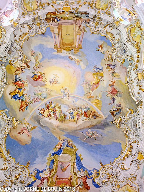 The amazing ceiling of the WeissKirche in Bavaria, Germany