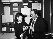 08/01/1988.01/08/1988.8th January 1988 .The Aer Lingus Young Scientist of the Year Award at the RDS, Dublin..Picture shows Michael Hanley, President of the Teachers Union of Ireland with Janet Whittaker, Maynooth Post Primary School, Co. Kildare explaining her project 'The Use of Microwaves for Sterilization' which won her a prize sponsored by the Teachers Union.