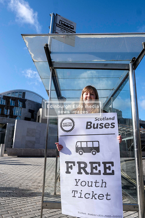 Scottish Greens, Free Bus Travel, 27 February<br /> <br /> Ahead of the budget debate this afternoon, Scottish Greens Parliamentary Co-Leaders Alison Johnstone MSP and Patrick Harvie MSP along with the Green MSP group staged a photocall outside the Scottish Parliament to celebrate their free bus travel for under 19s budget win.<br /> <br /> The Scottish Greens yesterday announced that a deal had been struck on free bus travel, more money for councils, extra resource for community safety and an additional £45 million package to tackle fuel poverty and the climate emergency.<br /> <br /> Pictured:  Gillian Mackay MSP<br /> <br /> Alex Todd   Edinburgh Elite media
