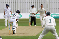 Will Davis bowling during the Specsavers County Champ Div 2 match between Leicestershire County Cricket Club and Derbyshire County Cricket Club at the Fischer County Ground, Grace Road, Leicester, United Kingdom on 27 May 2019.