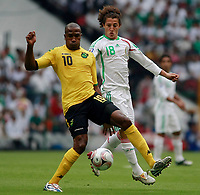 Fotball<br /> Foto: Piko Press/Digitalsport<br /> NORWAY ONLY<br /> <br /> MEXICO vs. JAMAICA in their World Cup 2010 qualifying soccer match in Mexico D.F., September 6, 2008<br /> Here Mexican player Andres Guardado and Jamaican player  Ricardo Fuller