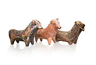 Minoan decorated bull shaped rhython (rhytha) for ritual liquid offerings, Phaistos 1800-1650 BC; Heraklion Archaeological  Museum, white background. .<br /> <br /> If you prefer to buy from our ALAMY PHOTO LIBRARY  Collection visit : https://www.alamy.com/portfolio/paul-williams-funkystock/minoan-art-artefacts.html . Type -   Heraklion   - into the LOWER SEARCH WITHIN GALLERY box. Refine search by adding background colour, place, museum etc<br /> <br /> Visit our MINOAN ART PHOTO COLLECTIONS for more photos to download  as wall art prints https://funkystock.photoshelter.com/gallery-collection/Ancient-Minoans-Art-Artefacts-Antiquities-Historic-Places-Pictures-Images-of/C0000ricT2SU_M9w
