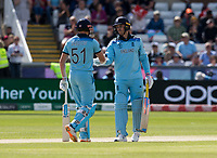 Cricket - 2019 ICC Cricket World Cup - Group Stage: England vs. NZ<br /> <br /> Jason Roy of England celebrates as he hits for 4 from Mitchell Santner of New Zealand, at the Riverside, Chester-le-Street, Durham.<br /> <br /> COLORSPORT/BRUCE WHITE