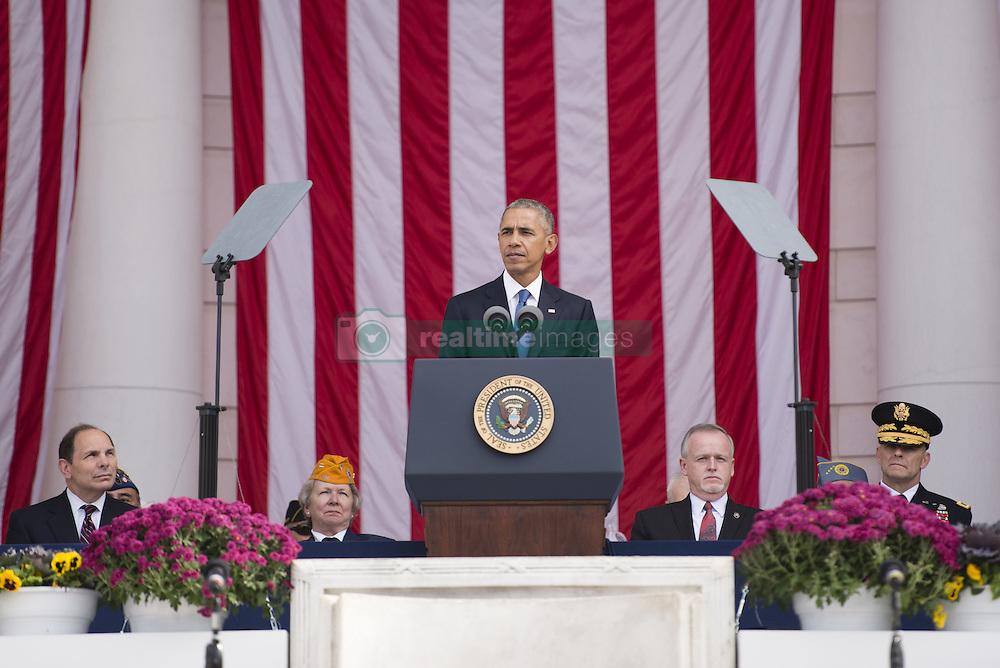 November 11, 2016 - Arlington, VA, United States of America - U.S. President Barack Obama delivers his address during Veterans Day at the Memorial Amphitheater in Arlington National Cemetery November 11, 2016 in Arlington, Virginia. (Credit Image: © Rachel Larue/Planet Pix via ZUMA Wire)