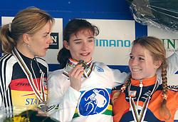 29-01-2006 WIELRENNEN: UCI CYCLO CROSS WERELD KAMPIOENSCHAPPEN: ZEDDAM <br /> Hanka Kupfernagel, Marianne Vos en Daphny van den Brand<br /> ©2006-WWW.FOTOHOOGENDOORN.NL