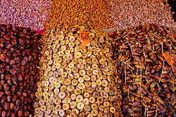 Figs, dates and almonds on sale on a stall in the medina, Marrakech, Morocco, North Africa<br /> <br /> <br /> (c) Andrew Wilson | Edinburgh Elite media