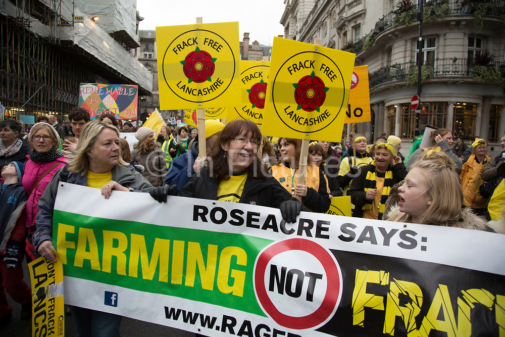 London, UK. Sunday 29th November 2015. Peoples March for Climate Justice and Jobs demonstration. Demonstrators gathered in their tens of thousands to protest against all kinds of environmental issues such as fracking, clean air, and alternative energies, prior to Major climate change talks. Lancashire against fracking.