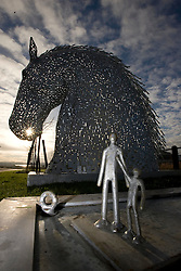 The Falkirk Gateway project wins a £25million grant from the Big Lottery Fund, at Falkirk Stadium. The scale model of the Kelpie sculptures.<br /> ©2007 Michael Schofield. All Rights Reserved.