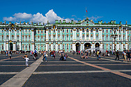 St. Petersburg, Russia -- July 21, 2019. Tourists populate the square outside the Winter Palace in St Petersburg, Russia.