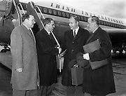 15/01/1962<br /> 01/15/1962<br /> 15 January 1962<br /> Samuel C. Johnson, Vice President of S.C. Johnson and Son Incorporated arrives at Dublin Airport. Mr. Johnson, S.C. Johnson and Son Incorporated (Johnson's Wax International) Regional Director for Europe, Africa and the Middle East was visiting Ireland as one of the three principal speakers at the Second National Export Conference. Picture shows Mr J.J. Stacey (2nd from left) President of Irish Industries welcoming Mr. Johnson to Dublin. Also in the picture are Peter Greville (left), Marketing Director, GoodBodys Ltd. Dún Laoghaire and Kevin McCourt.