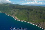 aerial view of  cliffs of north Moloka'i, Molokai Island, Hawaii, Hawaiian Islands, USA ( Central Pacific Ocean )