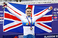 MenElimination Race, Matthew Wall (Great Britain) gold medal, flag, during the Track Cycling European Championships Glasgow 2018, at Sir Chris Hoy Velodrome, in Glasgow, Great Britain, Day 6, on August 7, 2018 - Photo luca Bettini / BettiniPhoto / ProSportsImages / DPPI<br /> - Restriction / Netherlands out, Belgium out, Spain out, Italy out -