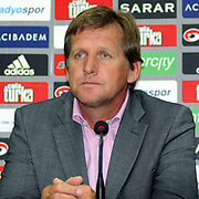 Besiktas Istanbul's soccer club new coach German Bernd Schuster speaks at a press conference after a signing ceremony in Istanbul, Turkey on 16 June 2010. Schuster signed a two years contract with the Turkish soccer club. Photo by TURKPIX