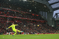 10th December 2017 - Premier League - Liverpool v Everton - Everton goalkeeper Jordan Pickford takes a goal-kick in the snow at Anfield - Photo: Simon Stacpoole / Offside.
