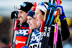 December 16, 2017 - Toblach, ITALY - 171216 Maurice Magnificat of France, Simen Hegstad KrŸger of Norway and Andrew Musgrave of Great Britain on the podium after men's 15km interval start free technique during FIS Cross-Country World Cup on December 16, 2017 in Toblach..Photo: Jon Olav Nesvold / BILDBYRN / kod JE / 160104 (Credit Image: © Jon Olav Nesvold/Bildbyran via ZUMA Wire)