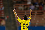 FRISCO, TX - SEPTEMBER 29:  Jairo Arrieta #25 of the Columbus Crew celebrates after scoring a goal against FC Dallas on September 29, 2013 at Toyota Stadium in Frisco, Texas.  (Photo by Cooper Neill/Getty Images) *** Local Caption *** Jairo Arrieta