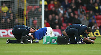 Leicester City's Wes Morgan and Leicester City's Liam Moore getting treatments after colliding with each other..Football - npower Football League Championship - Watford v Leicester City - Saturday 3rd November 2012 - Vicerage Road - Watford..