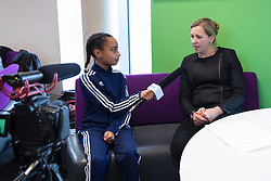 CARDIFF, ENGLAND - Tuesday, February 21, 2017: Jayne Ludlow, Wales 2017 UEFA Women's Champions League Final Ambassador and Current Wales National Team Manager is interviews by Ticketmaster TV in Cardiff Library to promote the men's and women's UEFA Champions League Finals being staged in Cardiff this June. (Pic by Paul Greenwood/Propaganda)