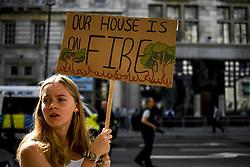 August 23, 2019, London, United Kingdom: Extinction Rebellion demonstrators gather outside Brazilian embassy to protest and rise awareness about the massive fires in the Amazon rainforest. (Credit Image: © Alberto Pezzali/NurPhoto via ZUMA Press)
