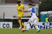 Bristol Rovers midfielder Ollie Clarke (8) pushes AFC Wimbledon defender George Francomb (7) during the EFL Sky Bet League 1 match between Bristol Rovers and AFC Wimbledon at the Memorial Stadium, Bristol, England on 31 December 2016. Photo by Stuart Butcher.