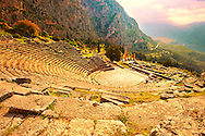 4th century BC theatre of Delphi, archaeological site, Greece, .<br /> <br /> If you prefer to buy from our ALAMY PHOTO LIBRARY  Collection visit : https://www.alamy.com/portfolio/paul-williams-funkystock/delphi-site-greece.html  to refine search type subject etc into the LOWER SEARCH WITHIN GALLERY.<br /> <br /> VVisit our ANCIENT GREEKS PHOTO COLLECTIONS for more photos to download or buy as wall art prints https://funkystock.photoshelter.com/gallery-collection/Ancient-Greeks-Art-Artefacts-Antiquities-Historic-Sites/C00004CnMmq_Xllw