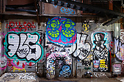 Cortlandt Alley, Chinatown, New York City. Street art, graffiti, and slap tags.
